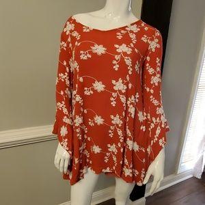 Umgee Rust orange & Cream embroidered tunic blouse